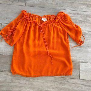 Milly Orange 100% Silk Peasant Blouse
